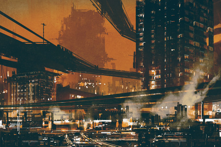 cyberpunk: sci fi scene showing futuristic industrial cityscape,illustration Stock Photo