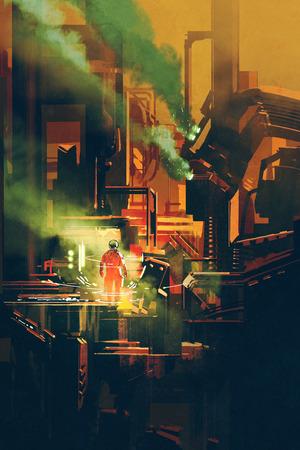 미래형 건축, 일러스트 레이 션에 빨간색 우주 비행사 서있는 공상 과학 현장 스톡 콘텐츠