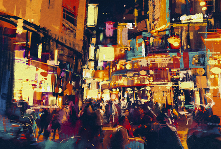 painting of city life at night,people walking in city,illustration