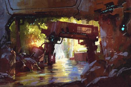 paesaggio industriale: foresta futuristico, la vecchia macchina in profonda cascata foresta