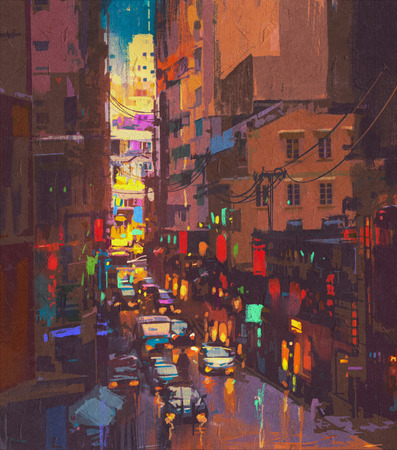 city lights: The city lights,evening traffic.digital painting Stock Photo