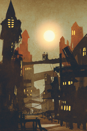 night scene of couple on bridge over city background,illustration