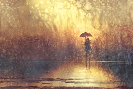donna solitaria con ombrello nel lago, illustrazione