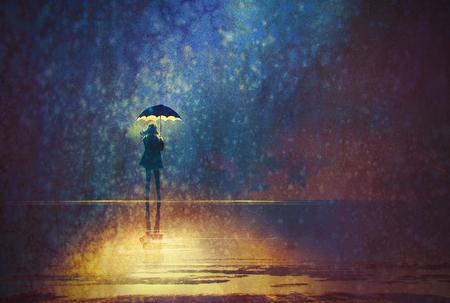 eenzame vrouw onder paraplu lichten in het donker, digitaal schilderen Stockfoto