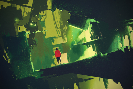 man walking into abstract green city,illustration