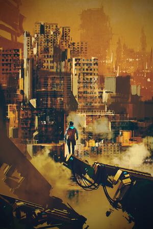 futuristic man: man standing on futuristic architecture,illustration