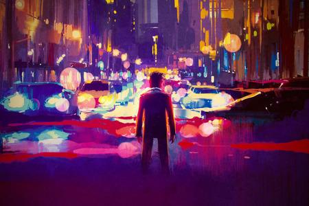 Человек, стоящий на освещенной улице в ночное время, иллюстрации картины Фото со стока
