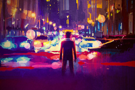 man standing on illuminated street at night,illustration painting