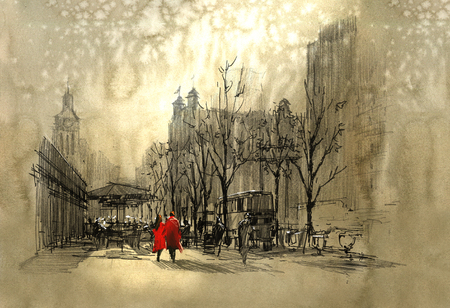 man painting: couple in red walking on street of city,freehand sketch