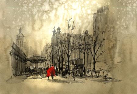 romantik: par i rött gå på gatan i staden, frihand skiss
