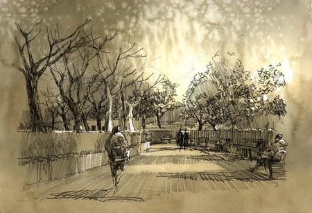 風景: 市内の公園の通路のフリーハンドのスケッチ