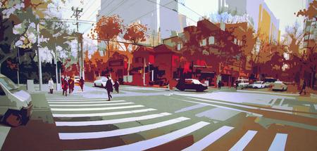 秋、都市景観絵画、paronamic ビューの街路