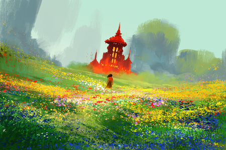 woman in flower fields next to red castle and mountain,illustration painting