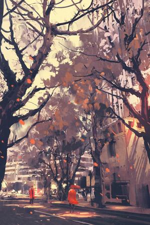 amour couple: couple dans rouge debout en face de voir l'autre dans la rue de la ville, illustration peinture