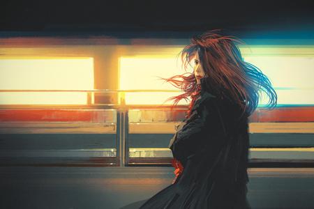 belle femme debout contre les lumières colorées, peinture numérique
