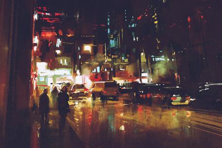 화려한 조명과 함께 밤 거리의 그림