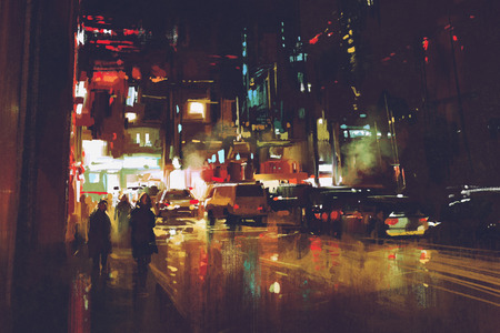 painting of night street with colorful lights Stok Fotoğraf