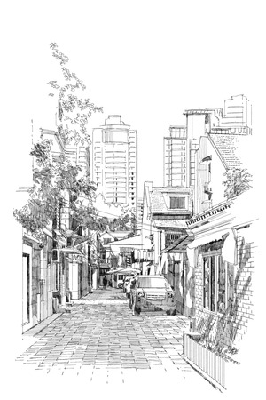 sketch drawing: freehand sketch of old street