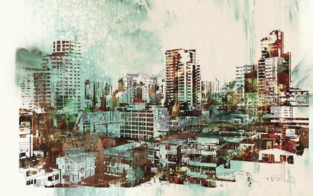 stadsgezicht met abstracte texturen, illustratie painting Stockfoto