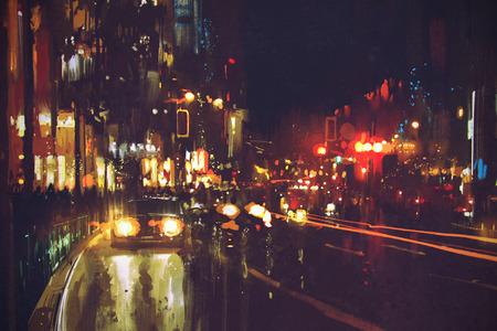 картина ночной улице с красочными огнями