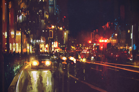 painting of night street with colorful lights Stock Photo
