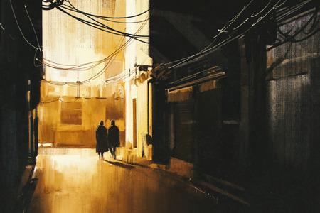 personas en la calle: pareja caminando en callejón de la noche, pintura ilustración Foto de archivo