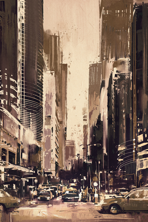 artwork and paintings: painting of city street with office buildings,artwork in retro style