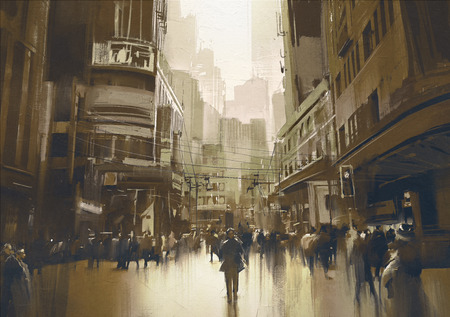 landscape painting: people on street in city,cityscape painting with vintage style