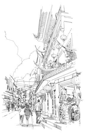 lijntekening: uit de vrije hand schets Chinese gebouwen en straat in de stad