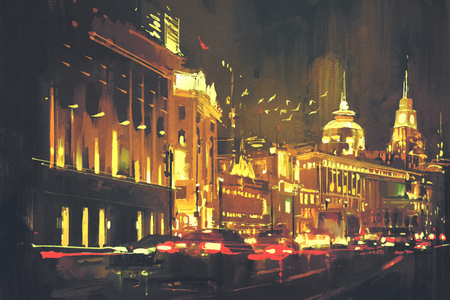 shanghai: painting of city street with colorful light,Shanghai The Bund at night