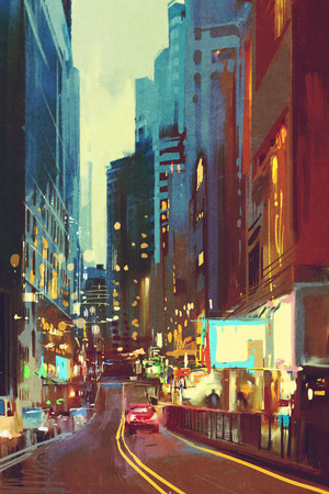 city light: painting of street in modern city with colorful light at evening