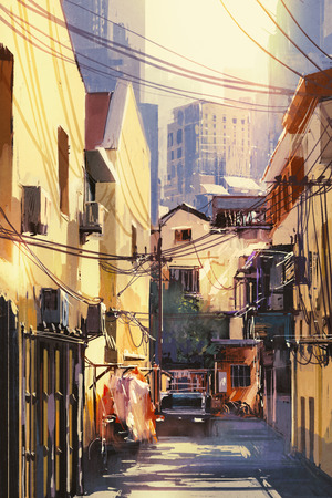narrow street: painting of narrow street with buildings,city on a sunny day