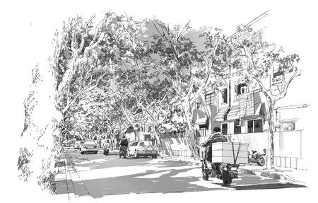 アーチ型の木の枝、フランス租界、上海で覆われた通りのスケッチ