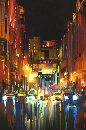 night city in the rain with reflections on wet street,digital painting Standard-Bild