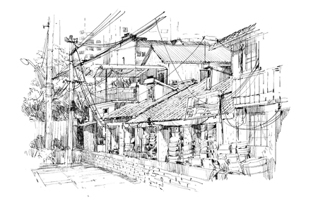 pencil drawings: freehand sketch of old buildings in China Stock Photo