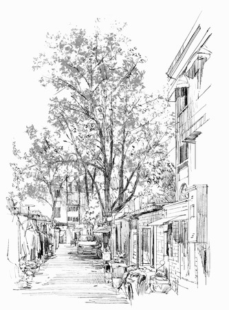 freehand: sketch of narrow street with old buildings in China