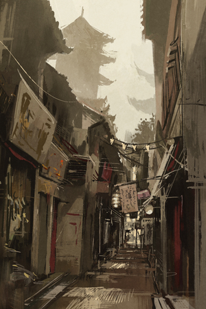 Chinatown alley with traditional Chinese buildings,illustration painting 스톡 콘텐츠