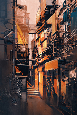 city alley: painting of narrow alleyway in old town at evening