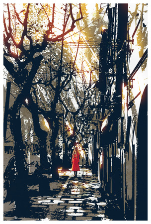 catoon: woman in red coat standing on pathway in city park,illustration painting