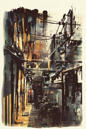 Wąskie uliczki w starym mieście, abstrakcyjne grunge pejzaż miejski Zdjęcie Seryjne