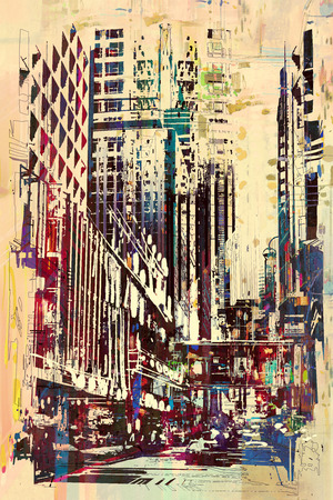 modern architecture: abstract grunge of cityscape,illustration painting
