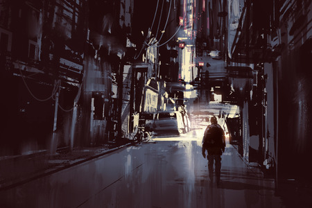 ruins: man walking alone in dark city,illustration painting