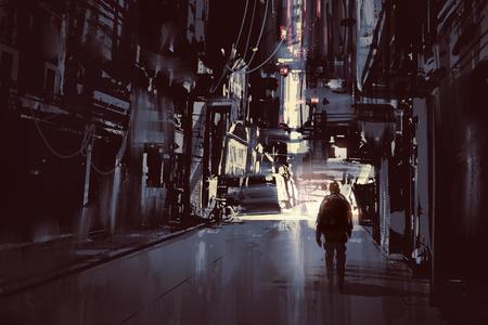 uomo che cammina da solo nella città di scuro, illustrazione pittura