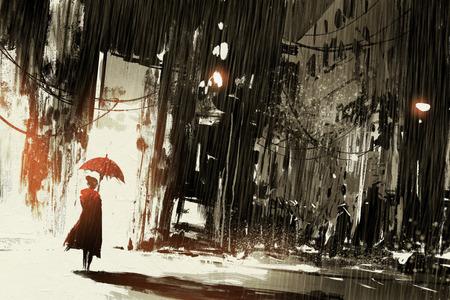 Mulher só com guarda-chuva na cidade abandonada, pintura digital Banco de Imagens