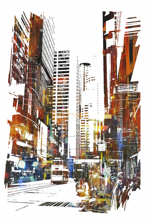abstract art of cityscape,illustration Banco de Imagens