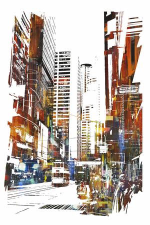 Arte abstrata da paisagem urbana, ilustração Foto de archivo - 52522616