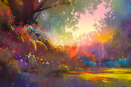 colorful landscape painting Stok Fotoğraf - 52522617