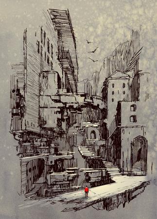 sci-fi paesaggio urbano, illustrazione pittura