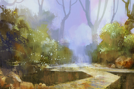 fog forest: trail in misty forest background,digital painting