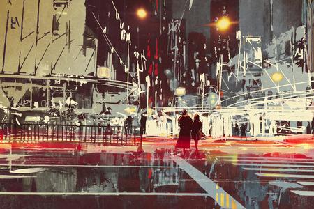 nachtscène van de moderne stad straat, illustration painting Stockfoto